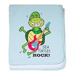 SEA TURLTES ROCK baby blanket