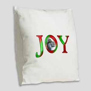 Christmas Joy Squirrel Burlap Throw Pillow