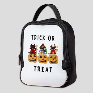 Halloween Trick or Treat Pugs Neoprene Lunch Bag