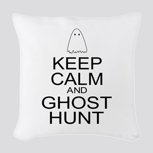 Keep Calm Ghost Hunt (Parody) Woven Throw Pillow