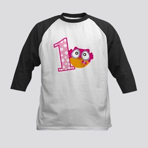 Cute Pink Owl Kids Baseball Jersey