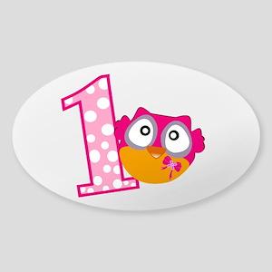 Cute Pink Owl Sticker (Oval)
