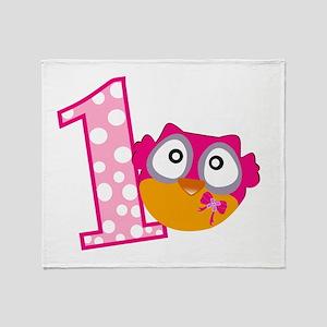 Cute Pink Owl Throw Blanket