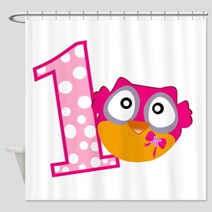 Cute Pink Owl Shower Curtain