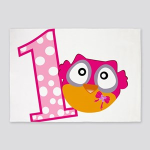 Cute Pink Owl 5'x7'Area Rug