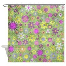 Retro Floral Shower Curtain Shower Curtain