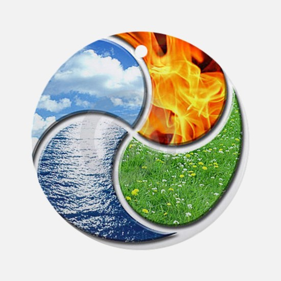 Four Elements Ying Yang Round Ornament