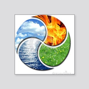 "Four Elements Ying Yang Square Sticker 3"" x 3"""