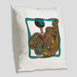 Sea Dragon Burlap Throw Pillow