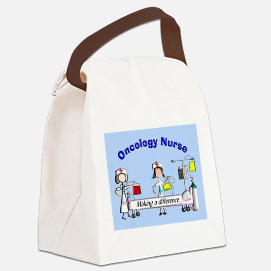 Oncology Nurse making a diff BLUE Canvas Lunch Bag