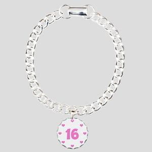Cute Pink 16th Birthday Charm Bracelet, One Charm