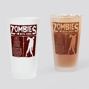 I Heart Zombies Drinking Glass