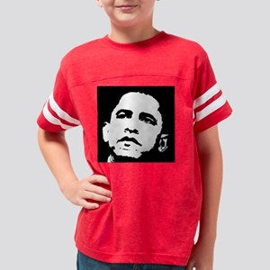 Obama Face 3  filled Youth Football Shirt