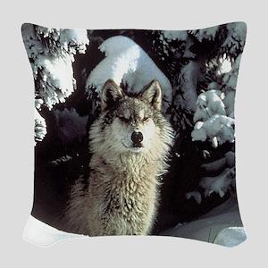 gray wolf Woven Throw Pillow