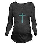 Blue Green Cross Long Sleeve Maternity T-Shirt