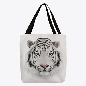 White Tiger Head Polyester Tote Bag
