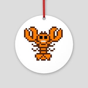 8bit lobster calico Round Ornament