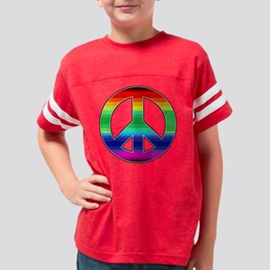 Rainbow Peace Sign 2 Youth Football Shirt
