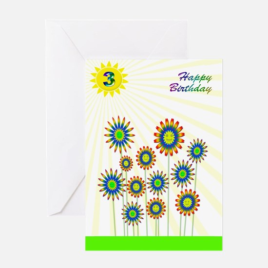 3rd birthday with happy flowers Greeting Cards