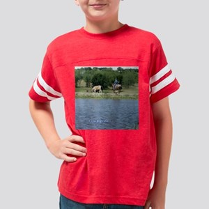 Cow Dogs on Pond Youth Football Shirt
