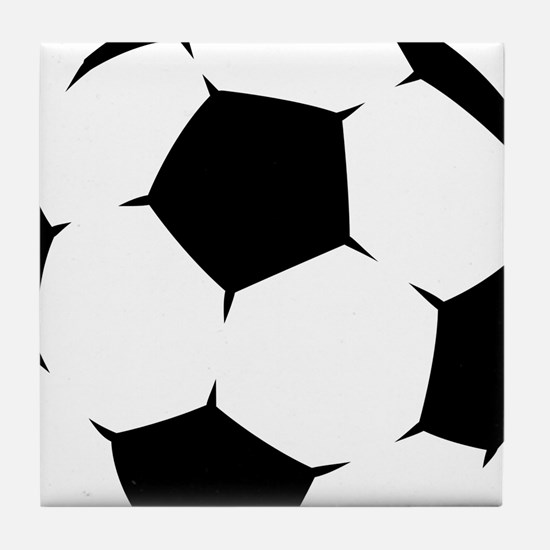 Black Soccer Ball Tile Coaster