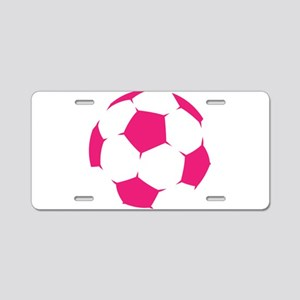 Pink Soccer Ball Aluminum License Plate