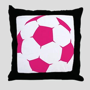 Pink Soccer Ball Throw Pillow