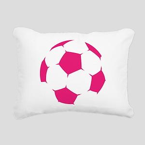 Pink Soccer Ball Rectangular Canvas Pillow