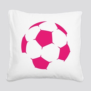 Pink Soccer Ball Square Canvas Pillow