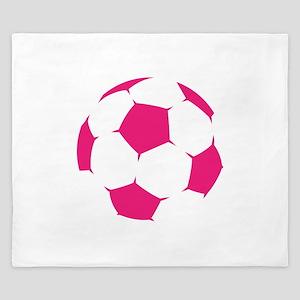 Pink Soccer Ball King Duvet