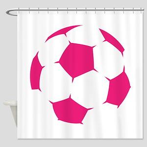 Pink Soccer Ball Shower Curtain