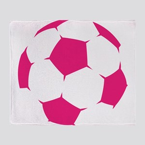Pink Soccer Ball Throw Blanket