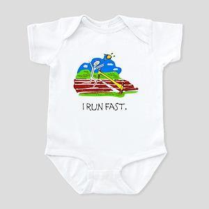 I Run Fast Stick Figure Infant Bodysuit