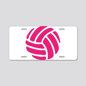 Pink Volley Ball Aluminum License Plate