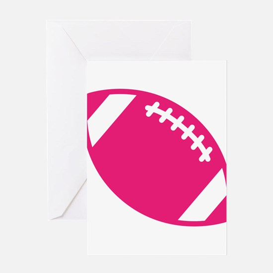 Pink Football Greeting Cards