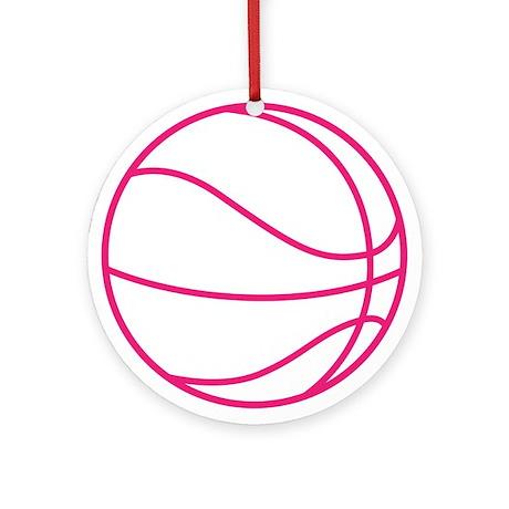 Pink Basket Ball Ornament (Round)