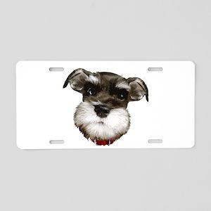 mini_schnauzer_face001 Aluminum License Plate