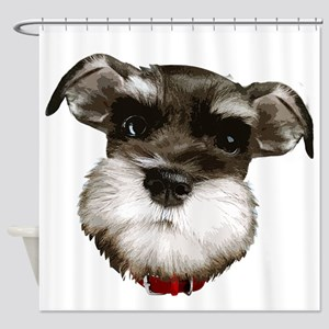 mini_schnauzer_face001 Shower Curtain