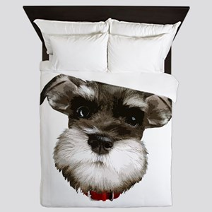 mini_schnauzer_face001 Queen Duvet