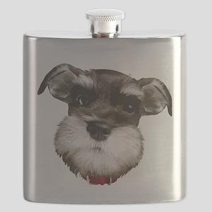 mini_schnauzer_face001 Flask
