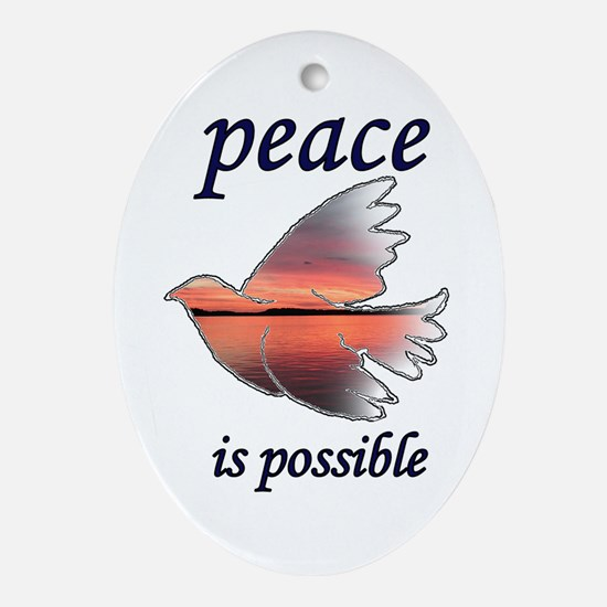 Peace is Possible Oval Ornament