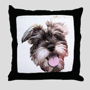 mini_schnauzer_face002 Throw Pillow