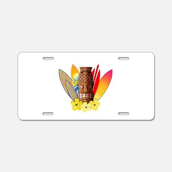 Tiki and Surfboards Aluminum License Plate