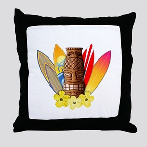 Tiki and Surfboards Throw Pillow