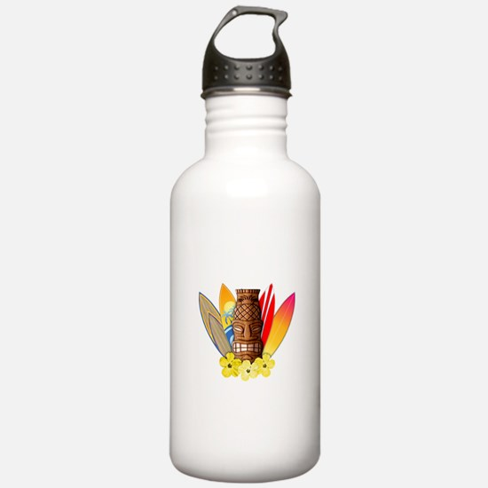 Tiki and Surfboards Water Bottle
