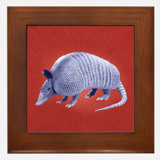 Purple Armadillo on Red Framed Tile