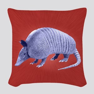 Purple Armadillo on Red Woven Throw Pillow