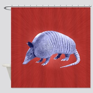 Purple Armadillo on Red Shower Curtain