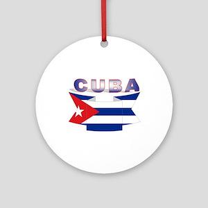 Cuba flag ribbon Ornament (Round)