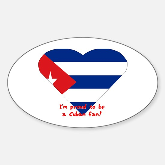 Cuban flag fan Oval Decal